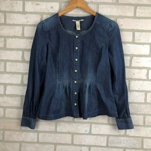 Lucky Brand Western Style Pearl Snap Chambray Top